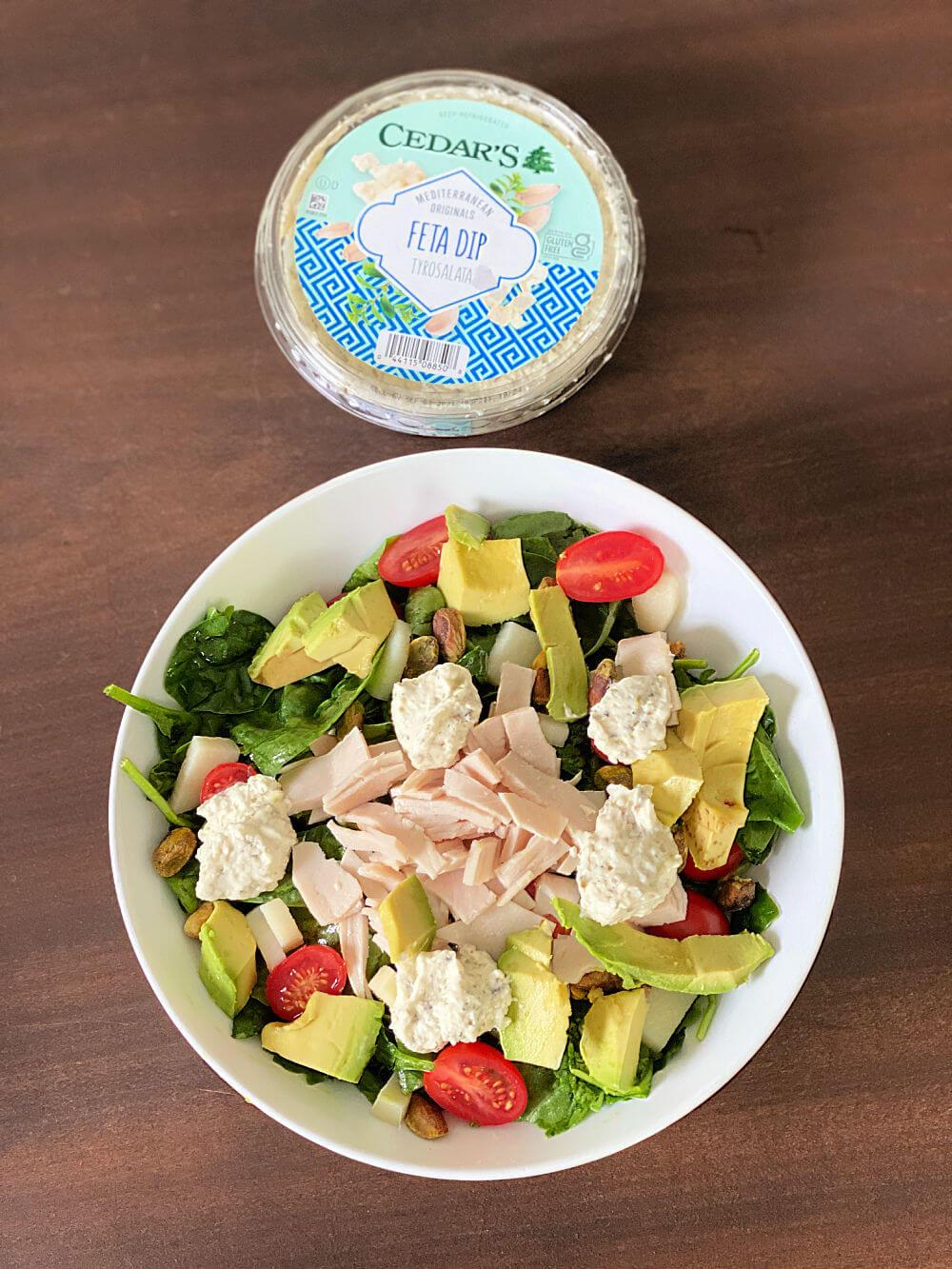 salad with cedar's feta dip