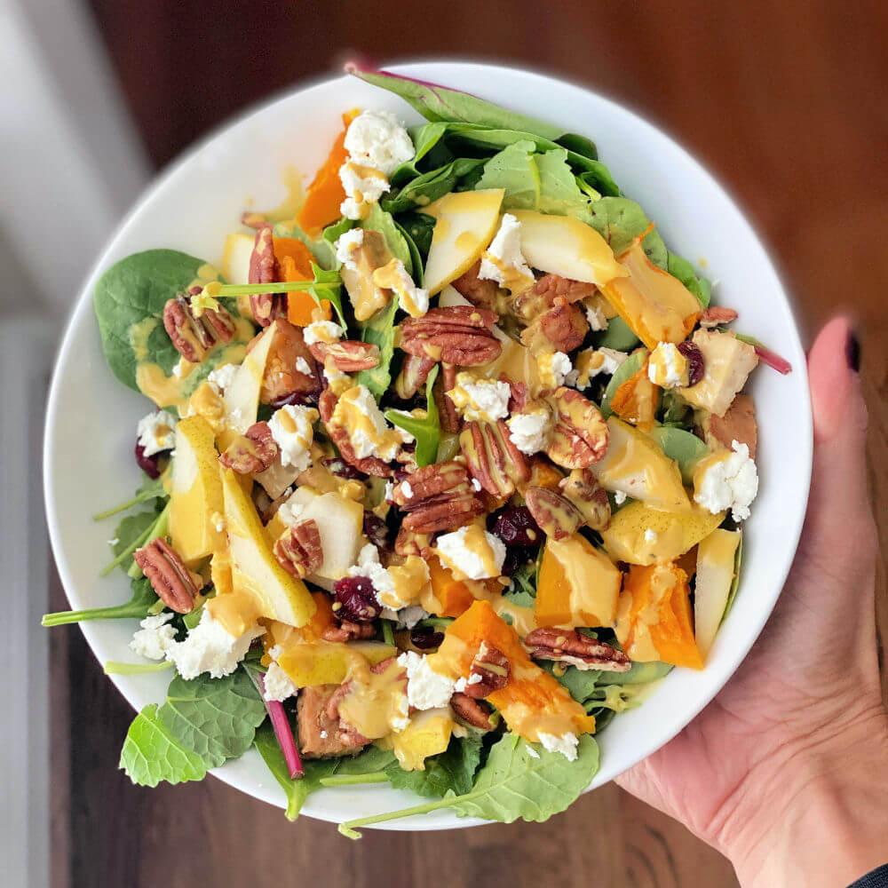 tempeh and kabocha squash salad