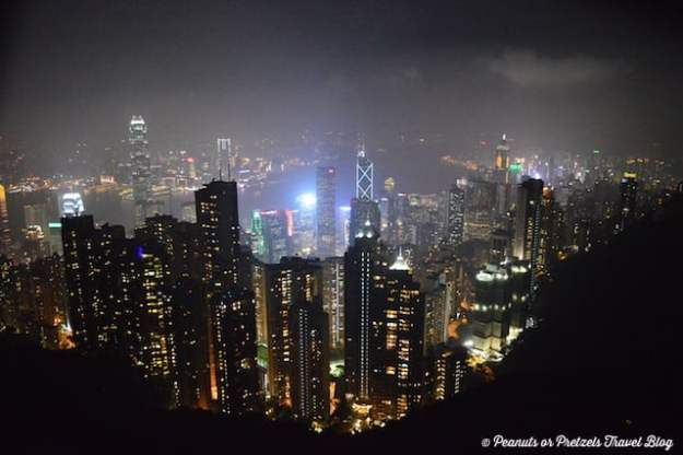 Views of Hong Kong at night from the top of The Peak lookout.