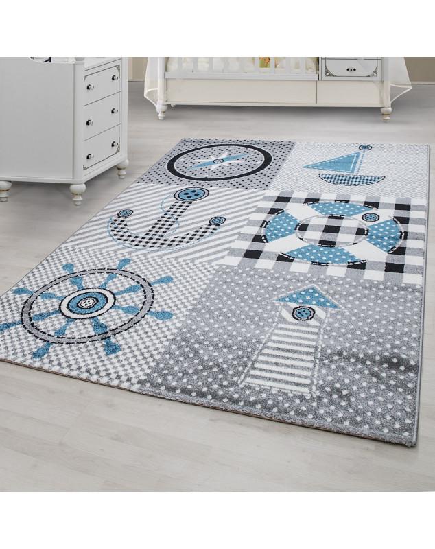 creche tapis avec des motifs marine gris bleu taille 80x150 cm