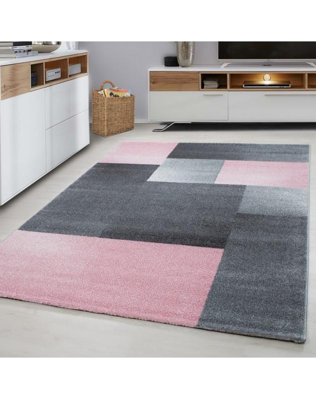 moderne la decoupe de contour 3d de salon tapis de lucca rose taille 80x150 cm