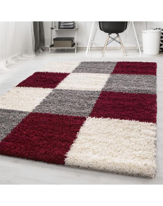 structure a fibres longues salon shaggy tapis a carreaux rouge blanc gris taille 60x110 cm