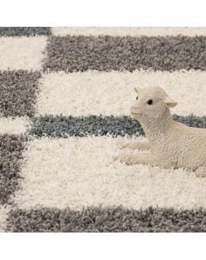 structure a fibres longues salon shaggy tapis de parement 3cm gris blanc turquoise