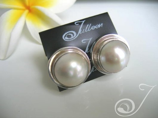 Clip On White Mabe Earrings