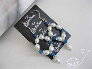 Blue Bijou Hoop Earrings
