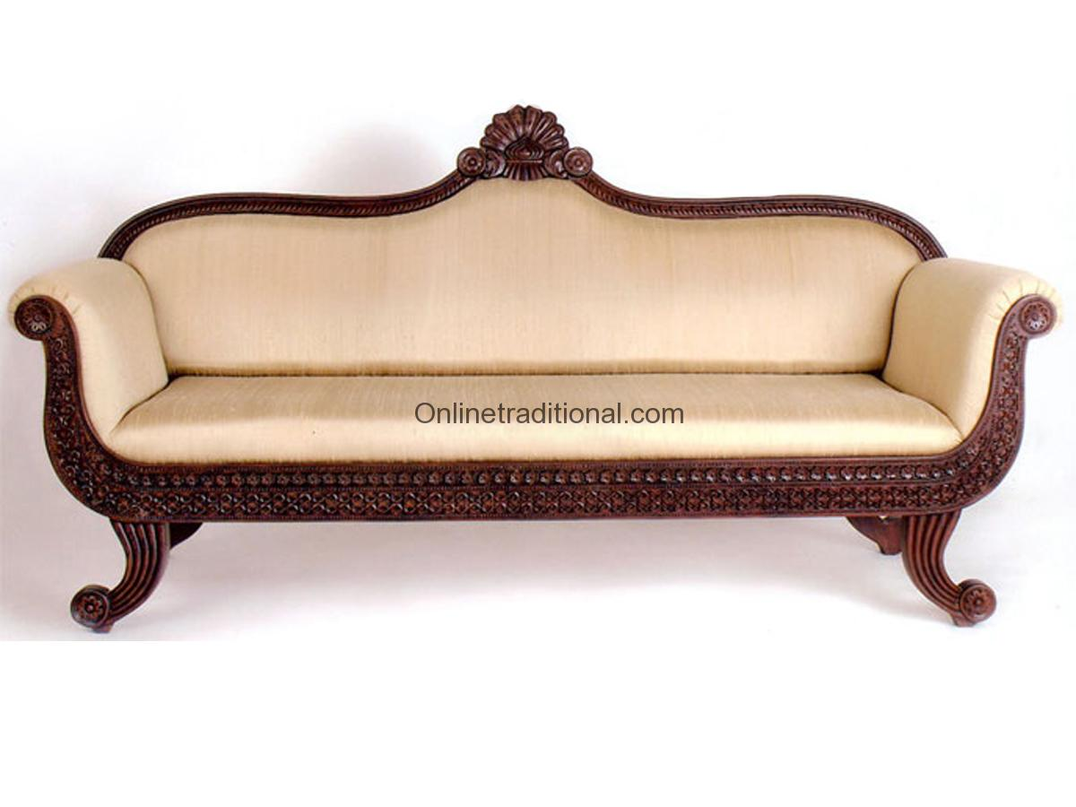 Teak Wood Sofa Sets Traditional Carving Pearl
