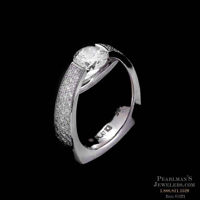 Eddie Sakamoto Jewelry Platinum And Side Diamond Ring