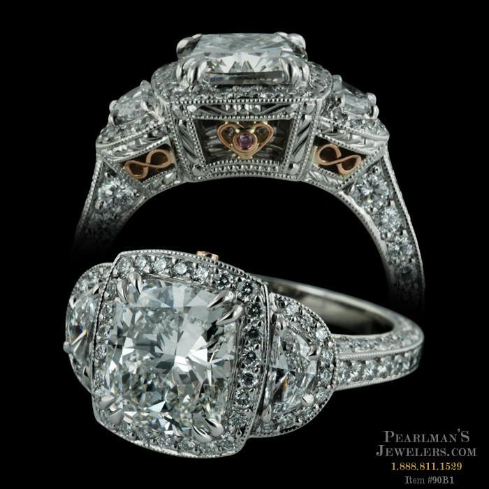 Michael Beaudry Platinum Cushion Cut Ring