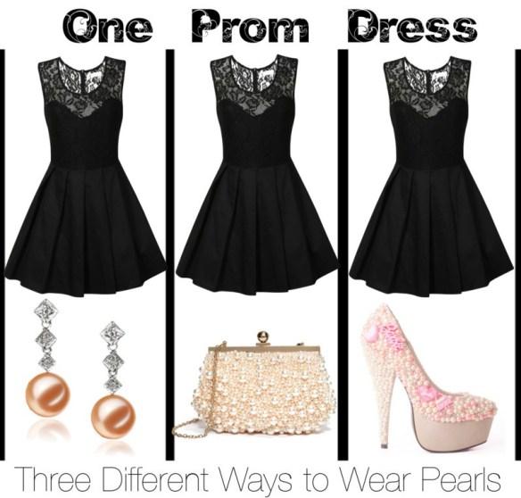 One Prom Dress- Three Different Ways to Wear Pearls