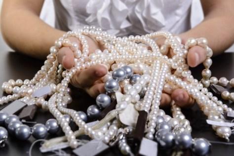 strings of akoya pearls