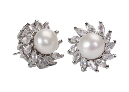 diamond pearl stud earrings