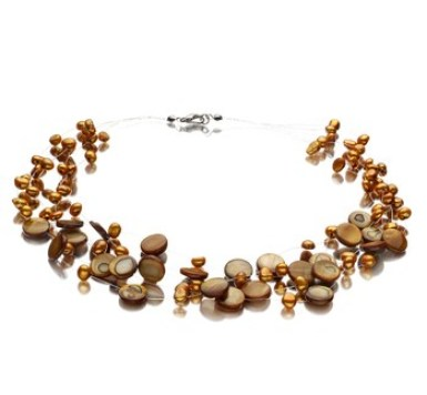 Champagne freshwater multi strand pearl necklace