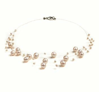 cluster white pearl necklace