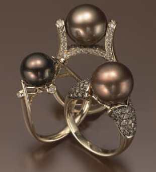 large brown pearl ring
