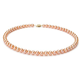 wearing a pearl necklace pink