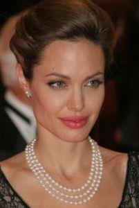 angelina jolie wearing pearls