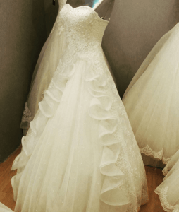 white pearl wedding dress