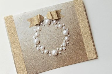 pearl decorated christmas card