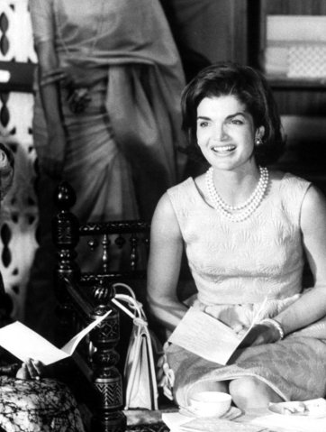 Jackie O with real pearl earrings