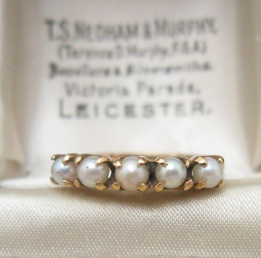 Pearl Wedding Rings with small gemstones