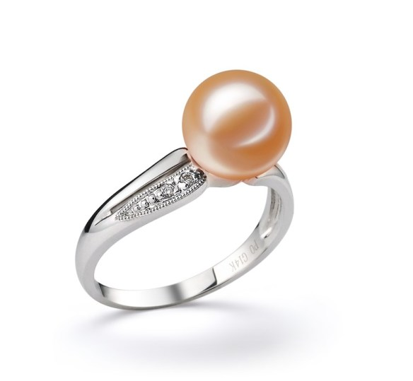 pink wedding pearl ring