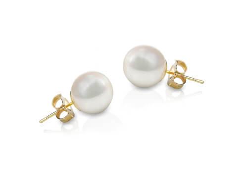 white pearl stud earrings