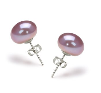 pearl stud earrings in lavender