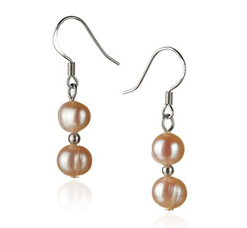 pearl drop earrings in pink