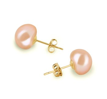 pearl stud earrings in pink color