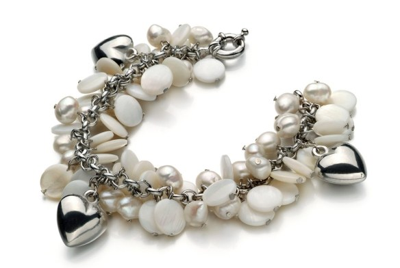 designer pearl accessories hearts charm pearl bracelet