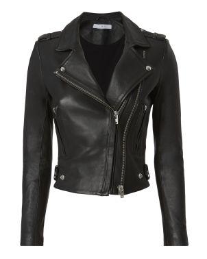 black clothing item black leather jacket biker style