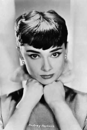 Audrey Hepburn wearing pearls