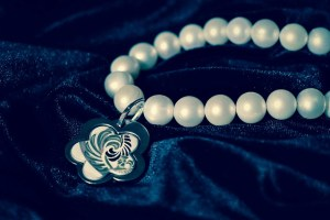 pearl bracelet with silver charm