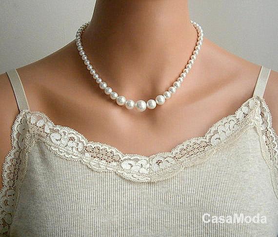 vintage pearl bridal necklace