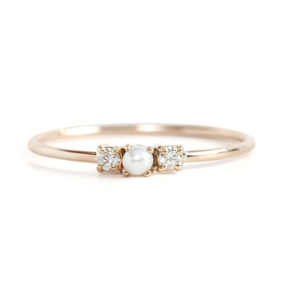 wedding pearl ring with small diamonds