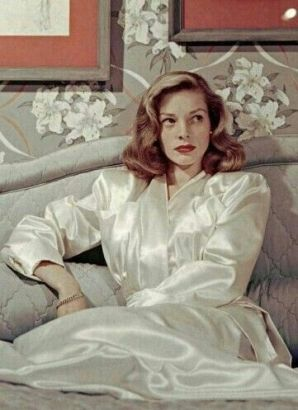 lauren bacall wearing a silk robe