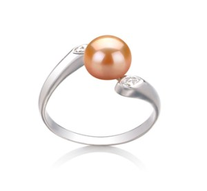 pink pearl ring with diamonds