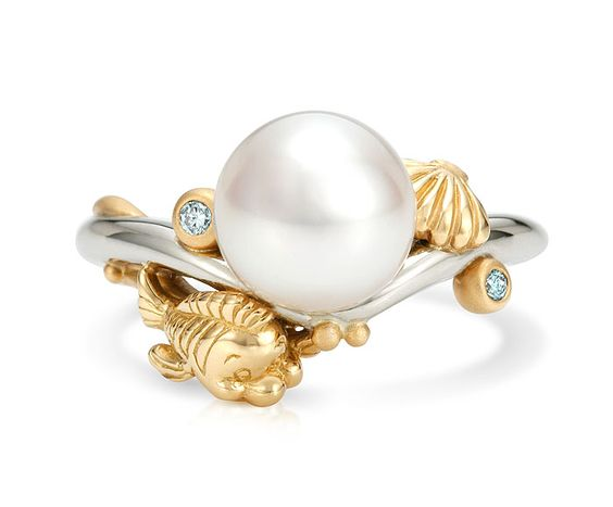 unique wedding rings with large white pearl