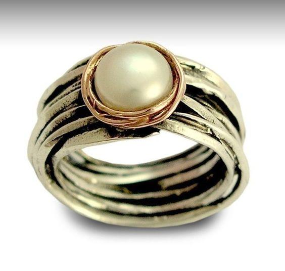 silver pearl wedding ring - Pearl Wedding Rings