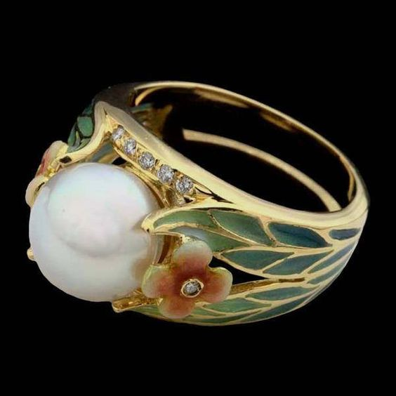 art nouveau pearl wedding ring - Pearl Wedding Ring