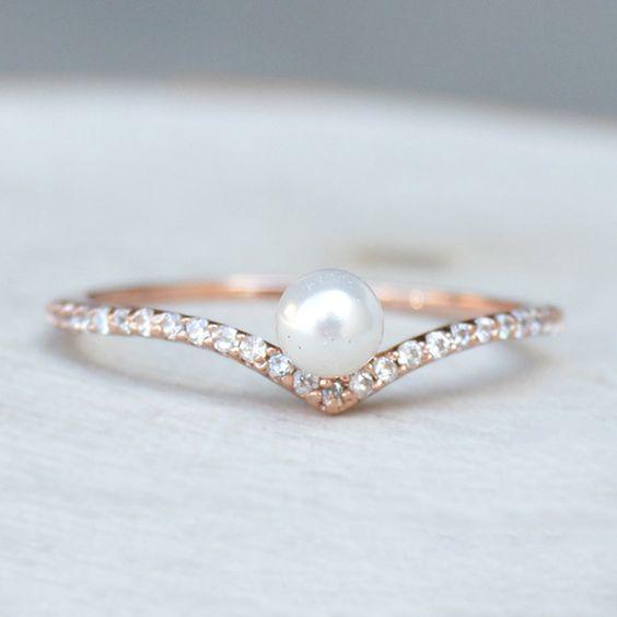 dainty pearl wedding ring - Pearl Wedding Rings