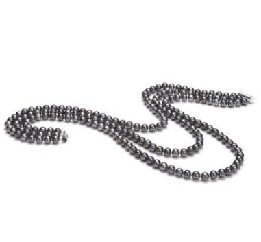 Black freshwater multi strand pearl necklace