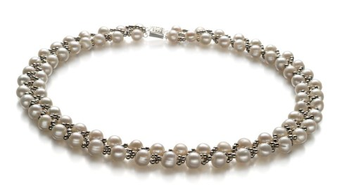 White wave pearl multi pearls strand necklace