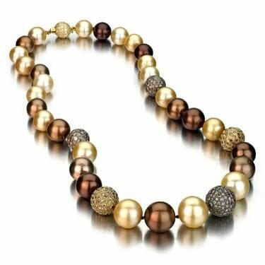 brown and gold pearl necklace