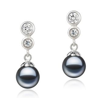 pair of black pearl drop earrings