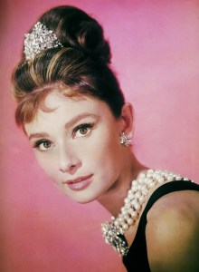 audrey wearing pearls
