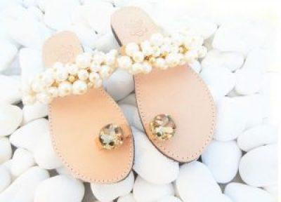 Perle Hochzeits-Flachsandalen