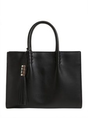 black leather bag