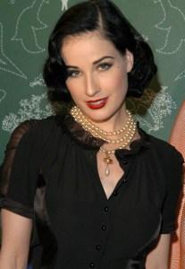 dita von teese wearing pearl earrings