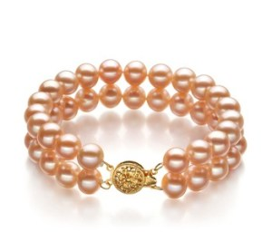 pink double strand pearl bracelet
